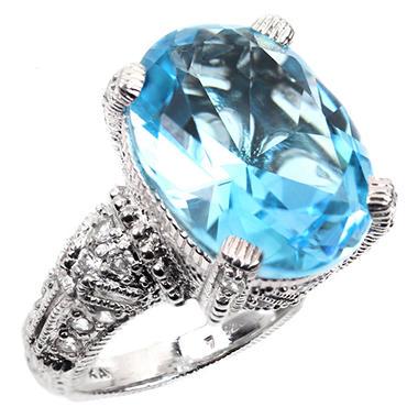Judith Ripka's Estate Oval Blue Topaz Cocktail Ring in Sterling Silver