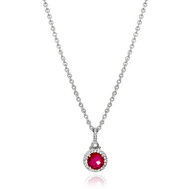 Judith Ripka Three Stone Estate Lab-Created Red Corundum and White Sapphire Necklace in Sterling Silver