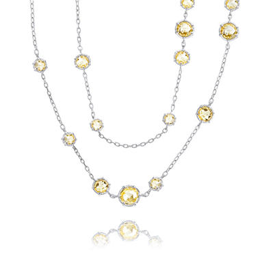Judith Ripka Round Canary Crystal Multi-Stone Necklace in Sterling Silver