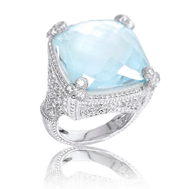 Judith Ripka Large Sky Crystal Doublet Monaco Ring With White Sapphires