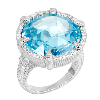 Judith Ripka Round Sky Blue Crystal Eclipse Ring with Micro Pave White Sapphires in Sterling Silver