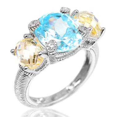 Judith Ripka 3-Stone Ring with Oval Center & Side Stones in Sterling Silver