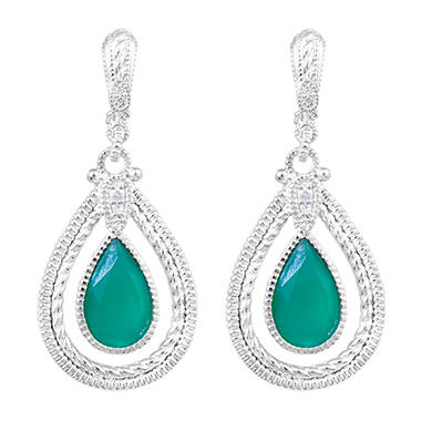 Judith Ripka Marina Single Frame Earrings With Color Stone, Green Chalcedony and White Sapphire