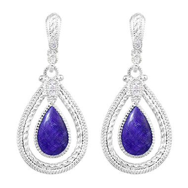 Judith Ripka Marina Single Frame Earrings With Color Stone, Navy Sapphire and White Sapphire