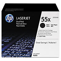 HP 55X Original Laser Jet Toner Cartridge, Black (2 pk., 12,500 Page Yield)