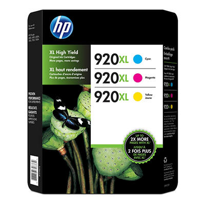 HP 920XL, 3-pack High Yield Cyan/Magenta/Yellow Original Ink Cartridges w/Photo Paper/Envelopes