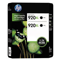 HP 920XL High Yield Original Ink Cartridge, Black (2 pk., 1,200 Page Yield)