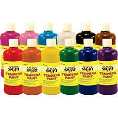 School Smart Multi-Purpose Liquid Tempera Paint Set, 1 Pint Plastic Bottle, Assorted Vibrant Colors, Set of 12