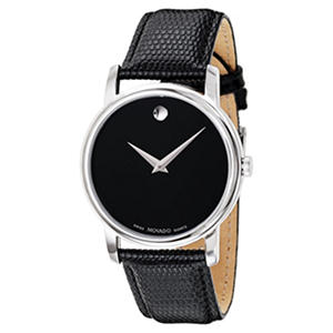 Movado Museum Stainless Steel Watch with Black Leather Strap