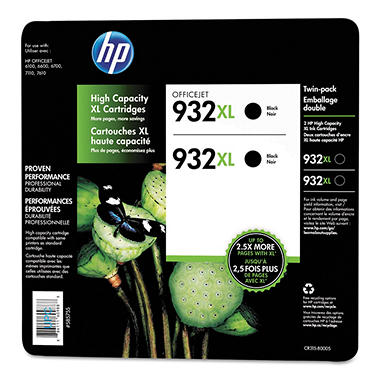 HP 932XL Black Officejet Ink Cartridge - 2 pk