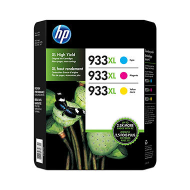 HP 933XL, 3-pack High Yield Cyan/Magenta/Yellow Original Ink Cartridges w/Photo Paper/Envelopes