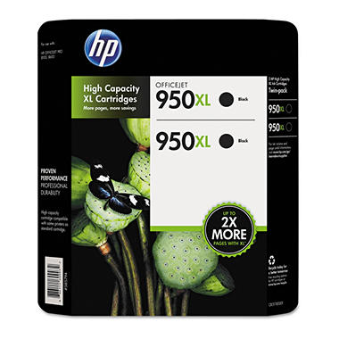 HP 950XL Black Ink Cartridge - Twin Pack