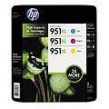 HP 951XL High Yield Original Ink Cartridge, Cyan/Magenta/Yellow (3 pk., 1,500 Page Yield)Image