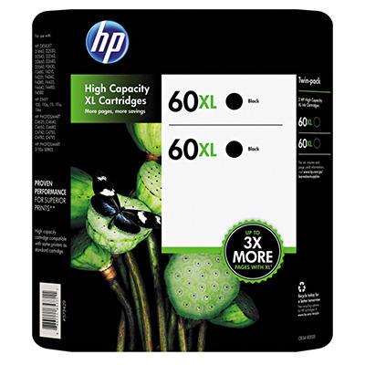 HP 60XL, 2-pack High Yield Black Original Ink Cartridges