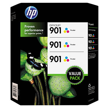 HP 901, 3-pack Tri-color Original Ink Cartridges