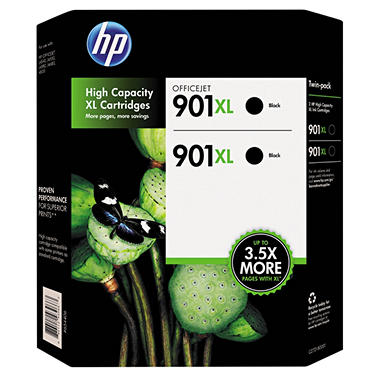 HP 901XL, 2-pack High Yield Black Original Ink Cartridges