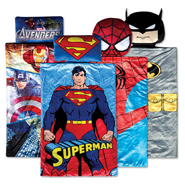 Marvel/Warner Bros 3D Superhero Kid's Slumber Sleeping Bag