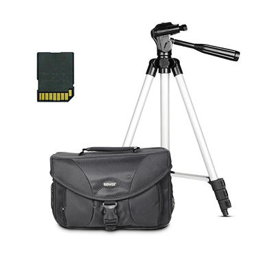 "Camera Accessory Bundle with Bag, 46"" Tripod, and 8GB SDHC Card"