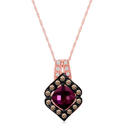 Roberto Ricci Cushion Cut Rhodolite and Brown and White Diamond Pendant in 14K Rose Gold