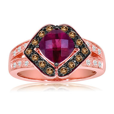 Roberto Ricci Cushion Cut Rhodolite and Brown and White Diamond Ring in 14K Rose Gold