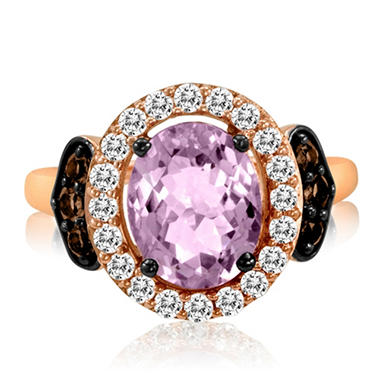 Roberto Ricci Amethyst, White Sapphire and Smokey Quartz Ring in 14k Rose Gold