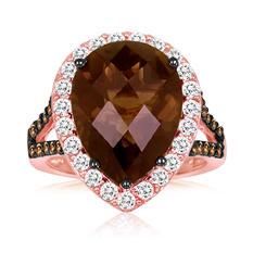 Roberto Ricci Smokey Quartz and White Sapphire Ring in 14K Rose Gold