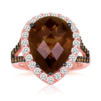 Roberto Ricci Smokey Quartz and White Sapphire Ring in 14K Rose Gold