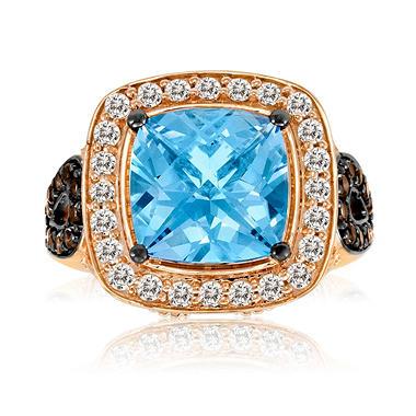 Roberto Ricci Blue Topaz, White Sapphire and Smokey Quartz Ring in 14k Rose Gold