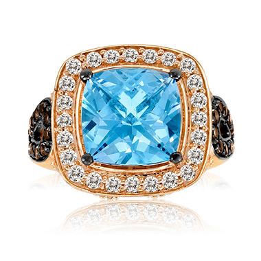 Roberto Ricci Blue Topaz, White Sapphire and Smokey Quartz Ring in 14k Rose Gold