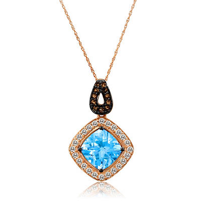 Roberto Ricci Blue Topaz, White Sapphire and Smokey Quartz Pendant in 14k Rose Gold