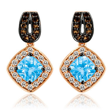 Roberto Ricci Blue Topaz, White Sapphire and Smokey Quartz Earrings in 14k Rose Gold