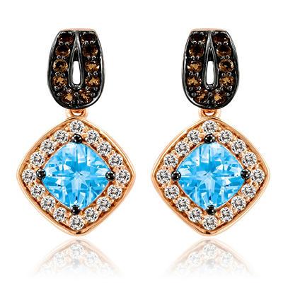 Roberto Ricci Blue Topaz, White Sapphire and Smokey Quartz Earrings in 14k Rose Gold