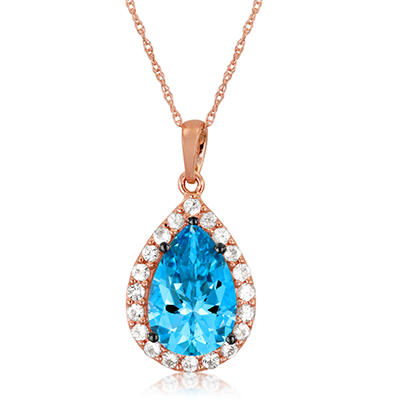 Roberto Ricci Pear-Shape Blue Topaz and White Sapphire Pendant in 14K Rose Gold