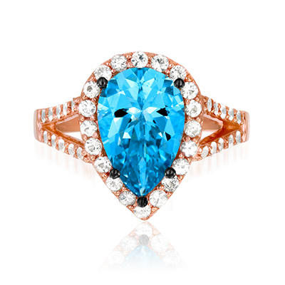Roberto Ricci Pear-Shape Blue Topaz and White Sapphire Ring in 14K Rose Gold