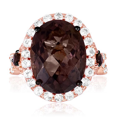 Roberto Ricci Smokey Quartz and White Topaz Ring in 14K Rose Gold