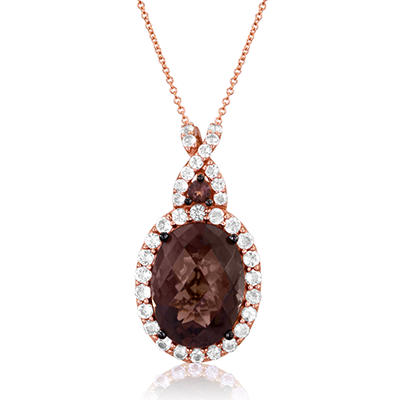 Roberto Ricci Smokey Quartz and White Topaz Pendant in 14K Rose Gold