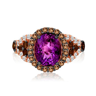 Roberto Ricci Oval Amethyst, Brown Diamond and White Topaz Ring in 14K Rose Gold