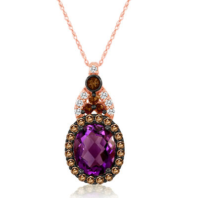 Roberto Ricci Oval Amethyst, Brown Diamond and White Topaz Pendant in 14K Rose Gold