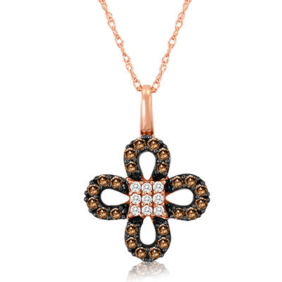 Roberto Ricci Natural Brown and White Diamond Clover Pendant in 14K Rose Gold
