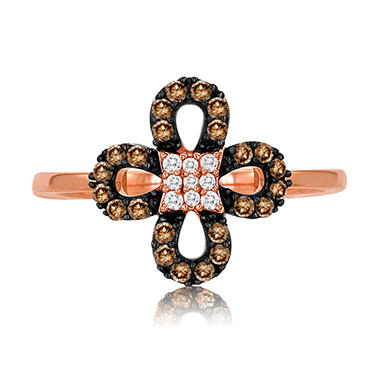 Roberto Ricci Natural Brown and White Diamond Accent Clover Ring in 14K Rose Gold