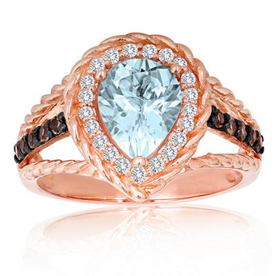 Roberto Ricci Aquamarine, White Topaz and Smokey Quartz Ring in 14K Rose Gold