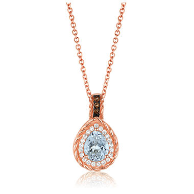 Roberto Ricci Aquamarine, White Topaz and Smokey Quartz Pendant in 14K Rose Gold