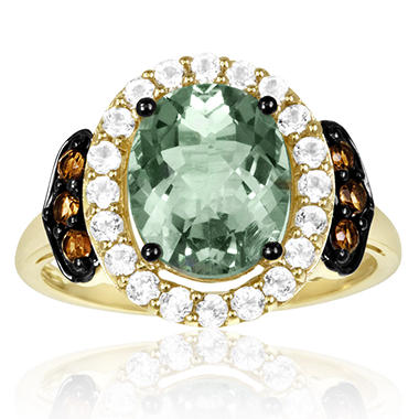 Roberto Ricci Green Amethyst, White Topaz and Smokey Quartz Ring in 14K Yellow Gold