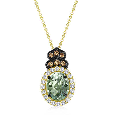 Roberto Ricci Green Amethyst, White Topaz and Smokey Quartz Pendant in 14K Yellow Gold