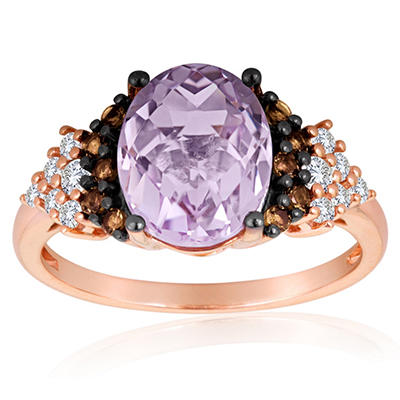 Roberto Ricci Pink Amethyst, White Topaz and Smokey Quartz Ring in 14k Rose Gold