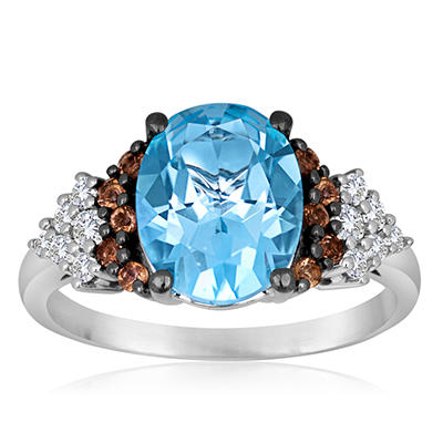 Roberto Ricci Blue Topaz, White Topaz and Smokey Quartz Ring in 14K White Gold