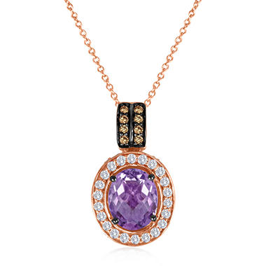 Roberto Ricci Amethyst, White Sapphire and Smokey Quartz Pendant in 14K Rose Gold