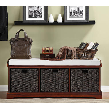 Storage Bench with Three Natural Fiber Bins