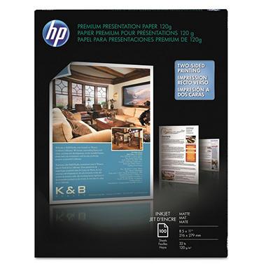HP - Premium Inkjet Matte Presentation Paper 8-1/2 x 11, White - 100 Sheets