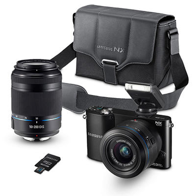 Samsung NX1000 20.3 MP Smart Compact System Camera Bundle with 20-50mm Lens, 50-200mm Lens, Camera Case, and 8GB SD Card